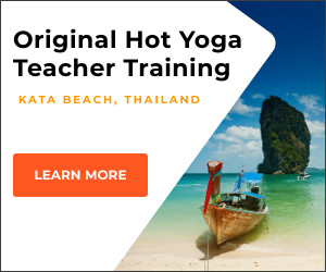 Image ad of Thailand beach with Thai style boat for booking Hot yoga teacher training